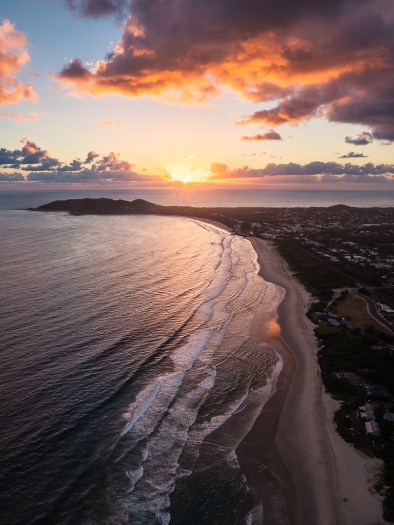 Byron Bay - Sunrise from a Hot Air Balloon - The gorgeous coastline of Australia's Byron Bay at sunrise.