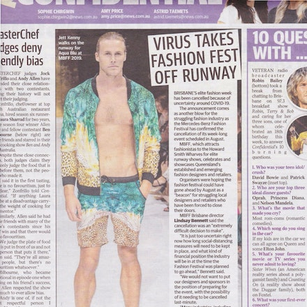 Couriermail April 2020 - Virus takes fashion festival off runway.
