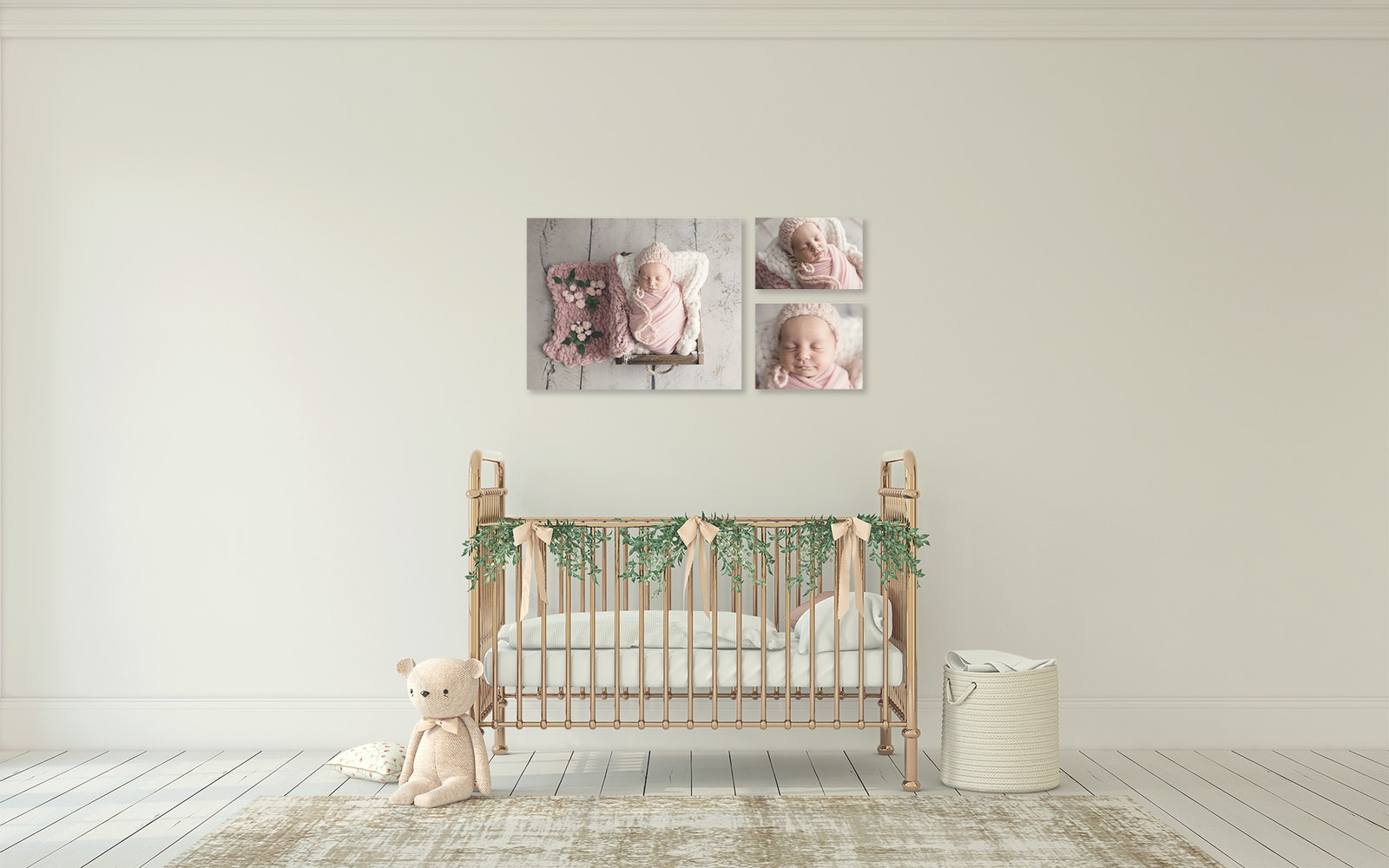 newborn room with canvas on walls - Beautiful wall art canvas with 75 year warranty proudly displayed in newborn baby's bedroom