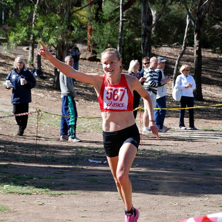 Benita XC Trial Win - Benita Willis crosses the line for victory at Brimbank Park in the Australian trial for the 2010 World Cross Country Championships.