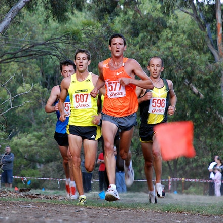 Australian trial for 2010 World Cross Country - Collis Birmingham leads the men's field at Brimbank Park, Melbourne. January 2010.