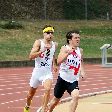 Tristan Garrett - Tristan Garrett leads Mark Abercrombie in the 800m at the 2010 NSW Club Championships.