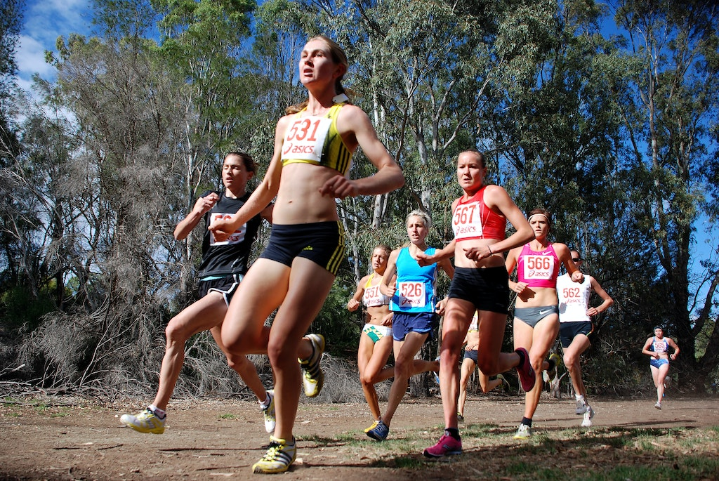 Tamara Carvolth - Tamara Carvolth from Queensland leads the women's field at the Australian trial for 2010 World Cross Country held at Brimbank Park, Melbourne....