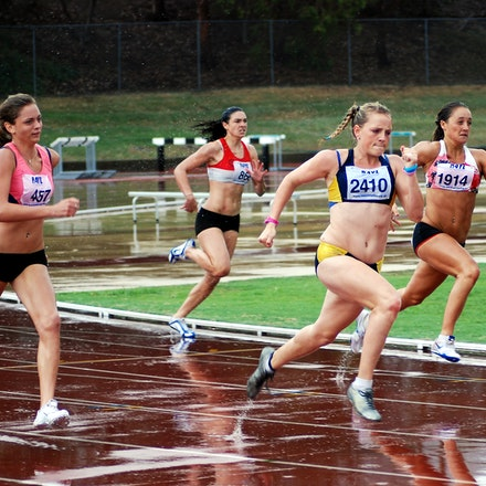 NSW Club Championships 2010 - Olivia Tauro leads Ella Nelson, Karlie Morton and Michelle Jenneke in the 200m at the 2010 NSW Club Championships at the...