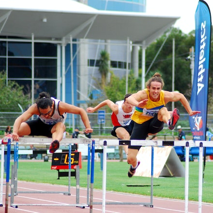 Hurdles - Mohamed Zeed and decathlete Stephen Cain in action in the 110m hurdles. Zeed was second in 15.02 seconds (-1.5) while Cain took bronze with a...