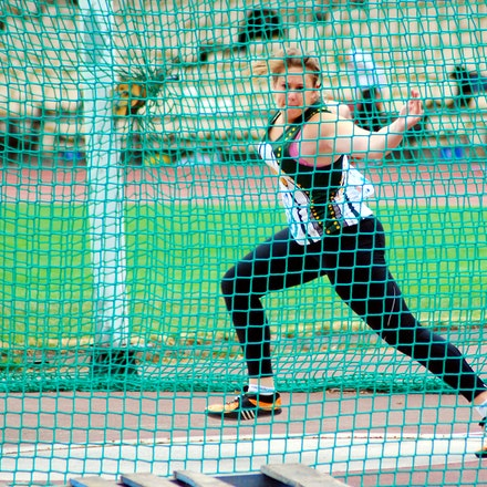 Kim Mulhall - Kim Mulhall was second in the discus in 52.29m and won the shot put with a throw of 14.88m.