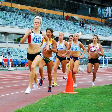 800m - Madeleine Pape leads the way at the bell in the 800m ahead of eventual winner Katherine Katsanevakis, who ran 2:03.04. NSW's Sianne Toemoe (2:03.94)...