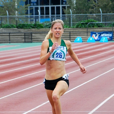 Georgie Clarke - 2000 Olympian Georgie Clarke was dominant in the 1500m, winning by over ten seconds with a run of 4:15.41.