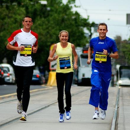 Great Australian Run media - Collis Birmingham, Benita Willis and Stefano Baldini run along the tramlines down St Kilda Rd as part of the promotion of...
