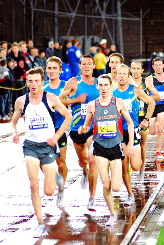 Lead pack - The lead pack in the Australian 10000m Championship held in conjunction with the 2009 Zatopek:10 meet, with Michael Shelley and David McNeill...