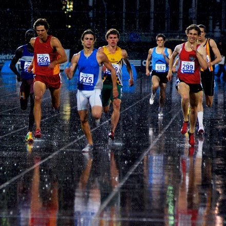 A beautiful Melbourne evening... - Runners in the 800m battle the elements as well as each other at the 2009 Zatopek:10 meet.