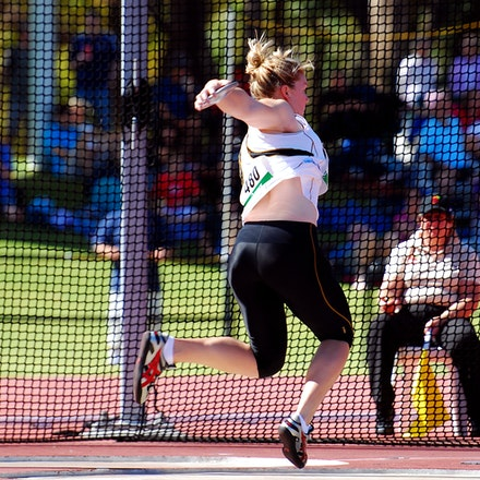 Dani Samuels - Dani Samuels was dominant in the discus, recording a winning throw of 63.61m at the 2010 Australian Championships in Perth.