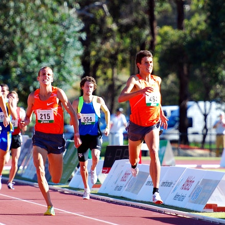 Classic 1500m final - The field in the 1500m sprint to the line at the 2010 Australian Championships in Perth after a tactically run race. 19-year-old...