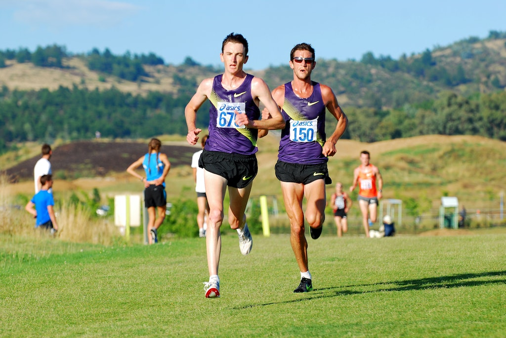 Michael Shelley and Collis Birmingham - Michael Shelley leads Collis Birmingham at the Australian trial for the 2011 World Cross Country Championships.