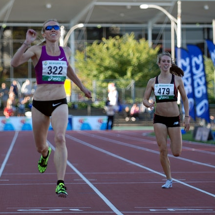 Tamsyn Lewis - Tamsyn Lewis crosses the line for victory in the 400m at the 2011 Australian Championships, in the final race to be held at Melbourne's...