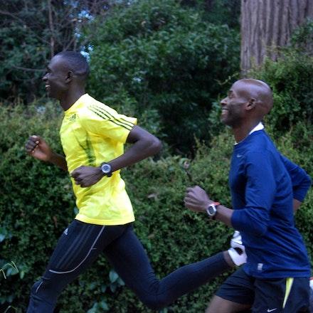 Lagat and Rudisha - Bernard Lagat and David Rudisha training around The Tan in Melbourne ahead of the 2011 World Athletics Tour meet.