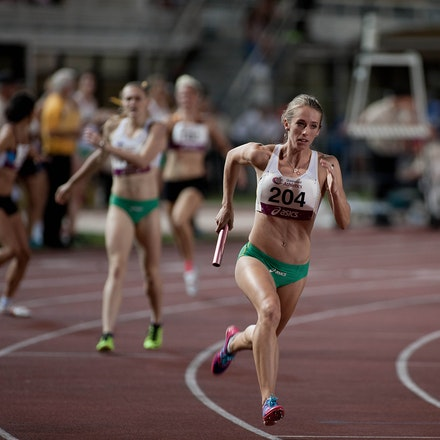 Rubie in the relay - Anneliese Rubie in stride on the second leg for an Australian quartet in the 4x400m relay at the 2013 Queensland Track Classic. With...