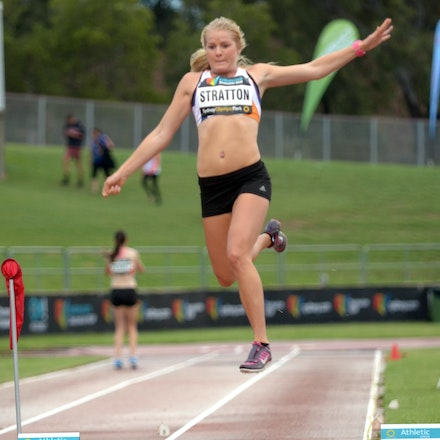 Brooke Stratton - Brooke Stratton in action in the long jump at the 2014 Sydney Track Classic.