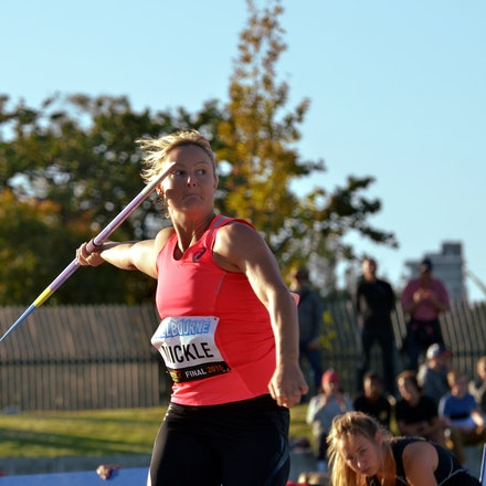 Kim Mickle - Kim Mickle prepares to throw in the javelin at the 2015 Melbourne Track Classic.