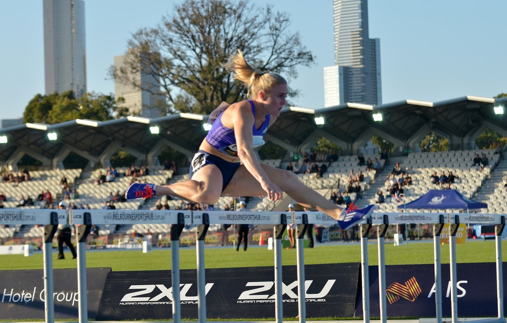 Sally Pearson - Sally Pearson clears a hurdle on the way to victory at the 2015 Melbourne Track Classic.