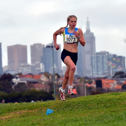 Samantha Prime - Samantha Prime of Victoria in action at the 2015 Australian Cross Country Championships held at Moonee Valley Racecourse. The Melbourne...