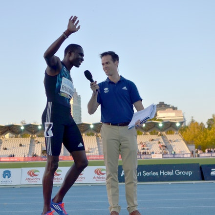 Melbourne Track Classic 2015 - David Rudisha is interviewed by Tom Nickson following his victory in the 800m at the 2015 Melbourne Track Classic at Lakeside...