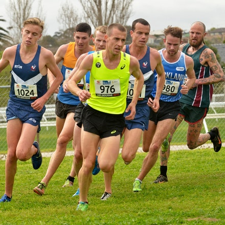Men's pack - Stewart McSweyn (Victoria) and Brad Milosevic NSW) lead a large pack of runners in the Australian Cross Country Championship at Moonee Valley...