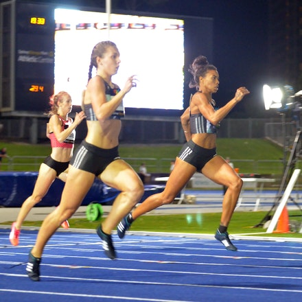 400m - Morgan Mitchell and Jessica Thornton enter the straight together in the 400m at the 2016 Australian Championships. Mitchell took victory in 51.84...