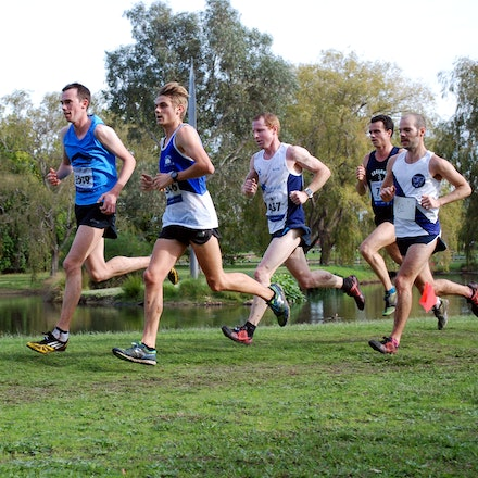 Toby Rayner & Jack Rayner - Toby Rayner (left) and eventual victor, Jack Rayner (right), lead the pack in the 16km cross country at Cruden Park.