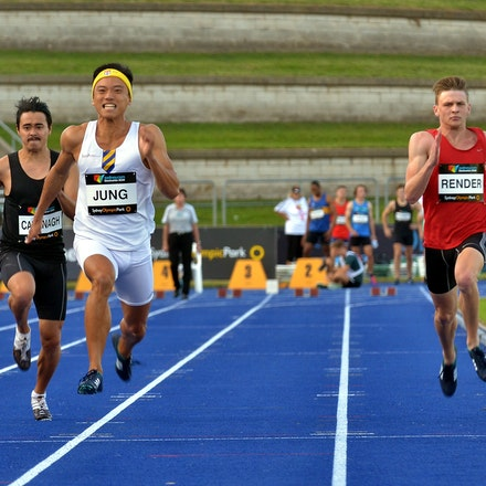 Jung - Jin Su Jung in action in the heats of the 100m at the 2016 Australian Championships.