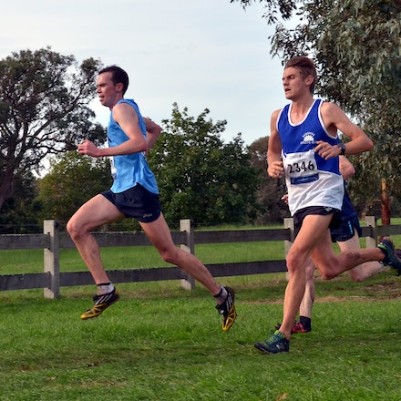 Athletics Victoria Heritage Round Cross Country 2016 - Toby Rayner and Jack Rayner tussle it out over the 16km course at Cruden Farm, with Jack taking...
