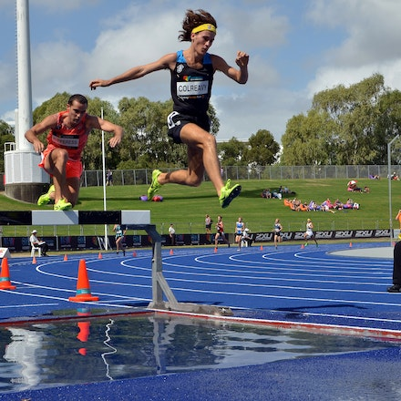 Steeplechase - Jack Colreavy leads James Nipperess over the water jump in the early stages of the 3000m steeplechase at the 2016 Australian Championships....