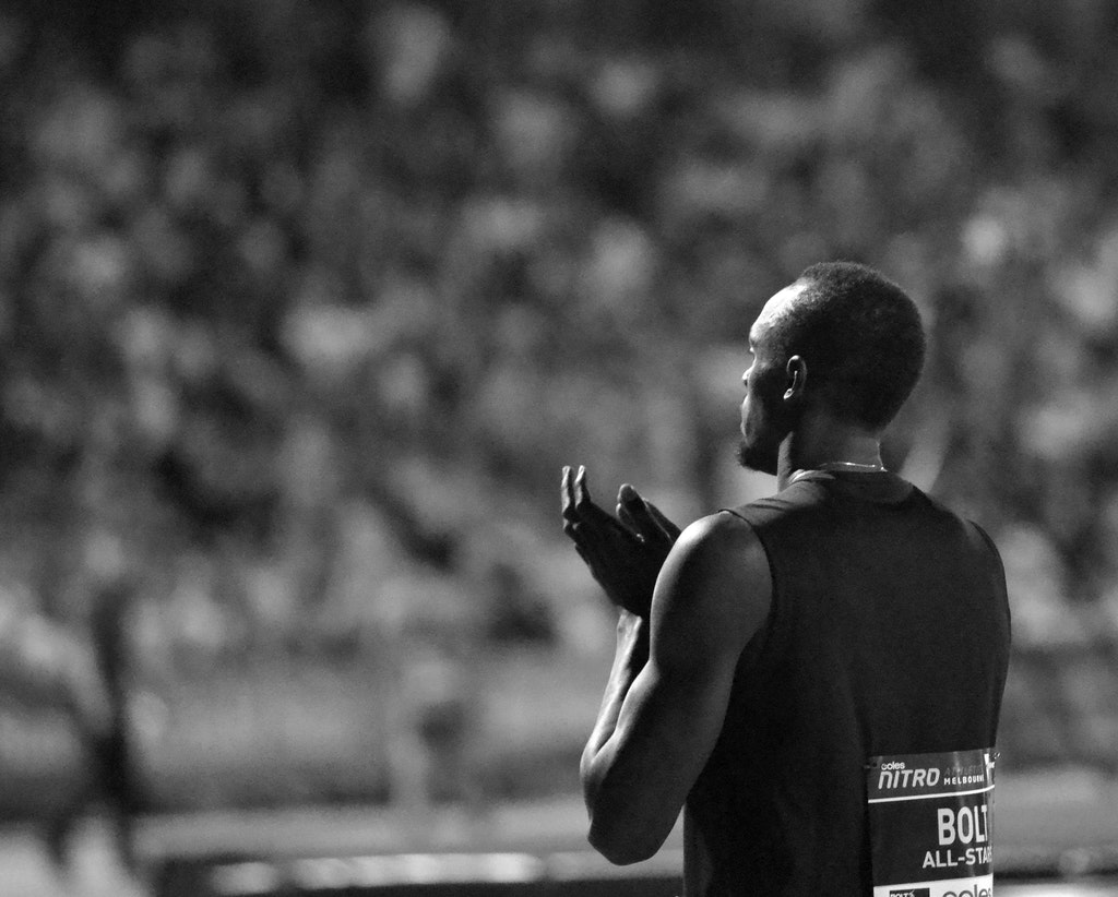 Usain - Usain Bolt looks towards a packed crowd at Lakeside Stadium during the second round of Nitro Athletics in 2017.