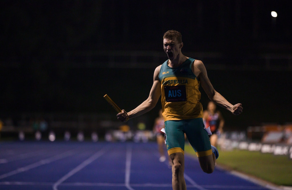 Solo - Steve Solomon anchored home the Australian 4x400m team for a win in 3:03.67.