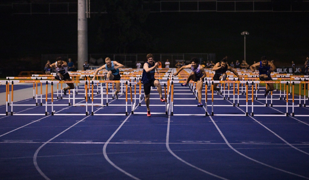 Nicholas Hough - Nick Hough surged through the field to win the 110m hurdles at the 2019 Queensland International Track Classic in 13.62 seconds. Photo:...