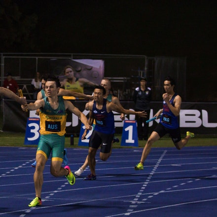 4x100m change - Jack Hale to Alex Hartmann at the 2019 Queensland International Track Classic. Photo: Casey Sims