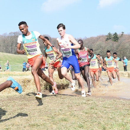 Milkesa Mengesha - Milkesa Mengesha and Jakob Ingebrigtsen in action in the junior men's race at the 2019 World Cross Country Championships.