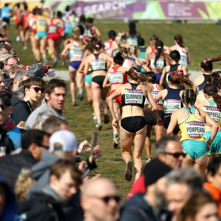 The Hill - General view as senior women's athletes compete during the IAAF World Athletics Cross Country Championships on March 30, 2019 in Aarhus, Denmark....