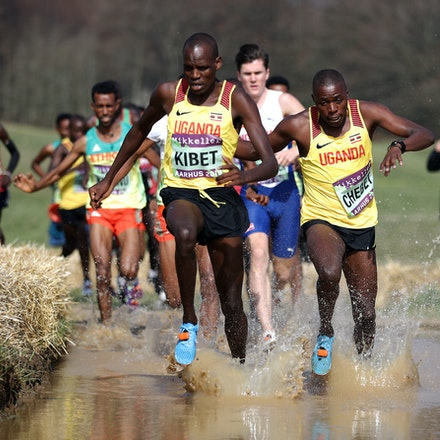 Kibet through the water. - Samuel Kibet of Uganda leads through the watersplash on the first lap of the Senior Men's race at the IAAF World Athletics Cross...