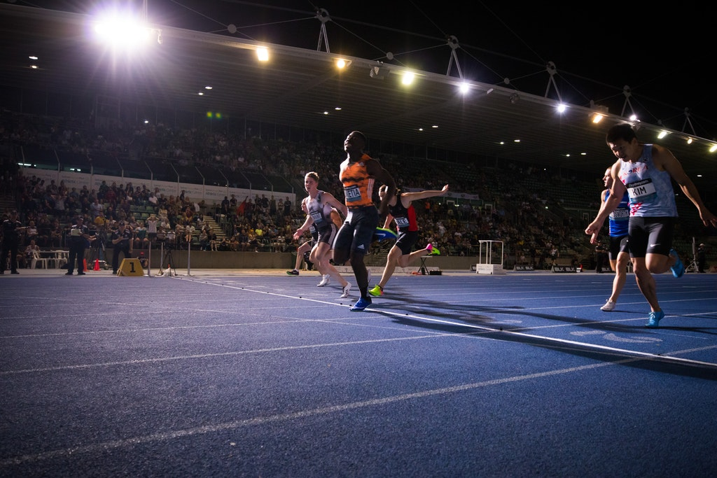 Edward Nketia - Edward Nketia takes out the Australian 100m title in 10.22 seconds at the 2019 Australian Championships in Sydney.  Photo: Casey Sims