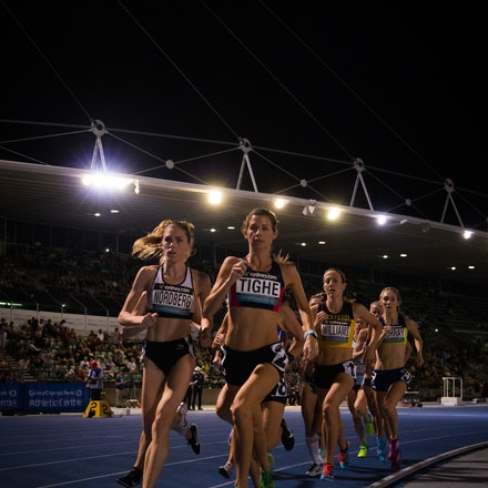 1500m - Eventual winner, Chloe Tighe, leads the field at the bell in the 1500m at the 2019 Australian Championships in Sydney. Photo: Casey Sims