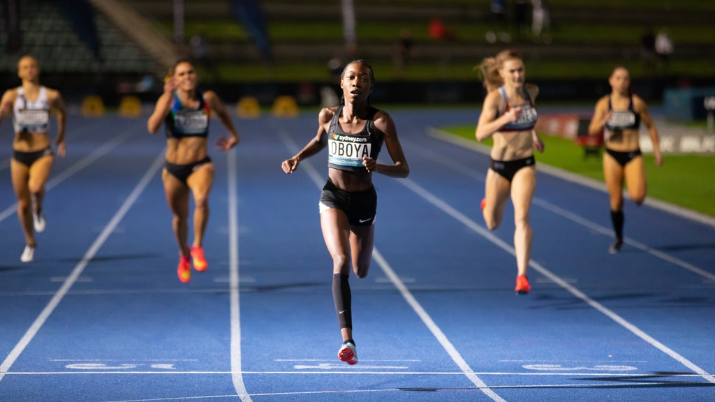 Bendere Oboya - Bendere Oboya striding to the line to win the 400m at the 2019 Australian Championships in Sydney. Photo: Casey Sims