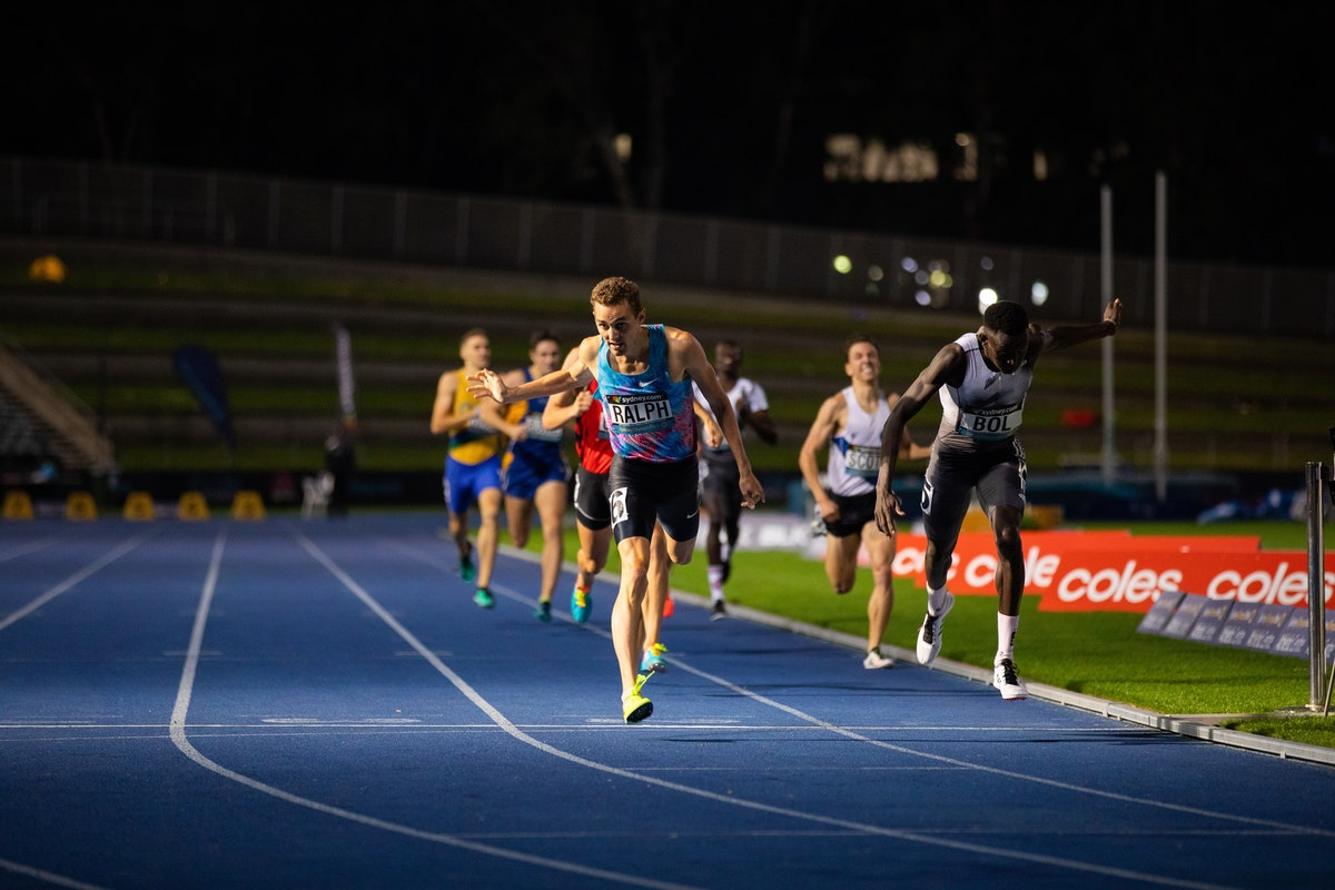 800m - Peter Bol dips at the line to win the 800m title at the 2019 Australian Championships ahead of Joshua Ralph. Photo: Casey Sims