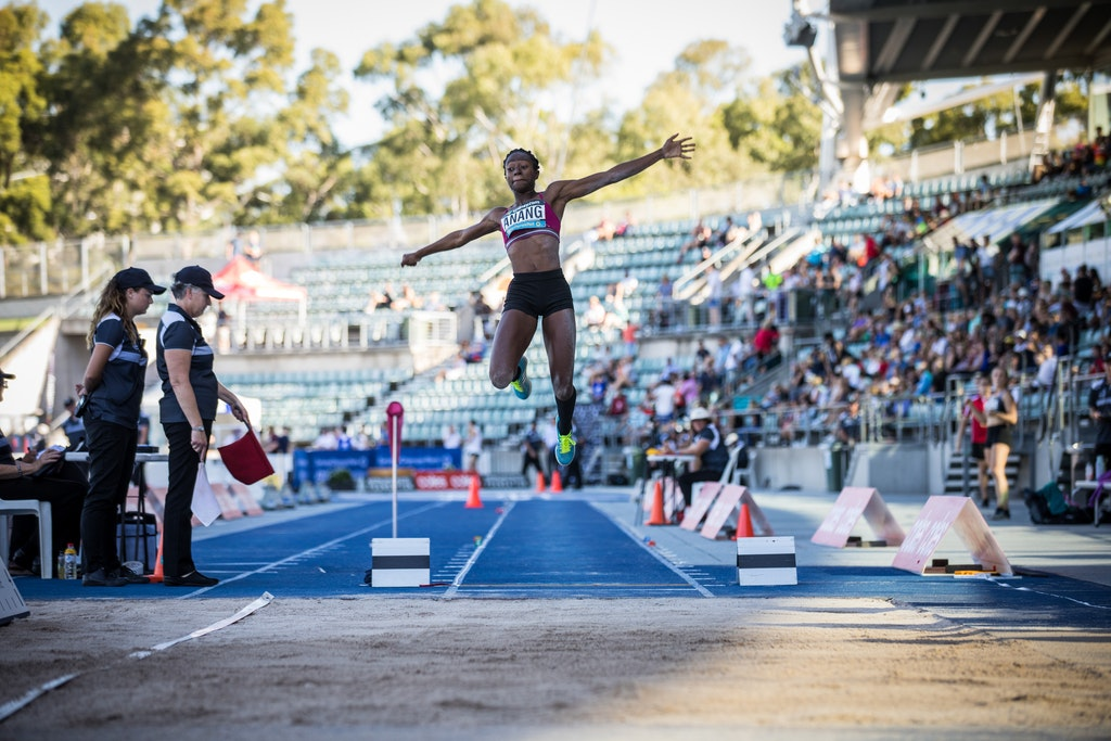 Naa Anang wins unique double - Naa Anang became the first woman to win the 100m/long jump double at the Australian Championships. Photo: Casey Sims