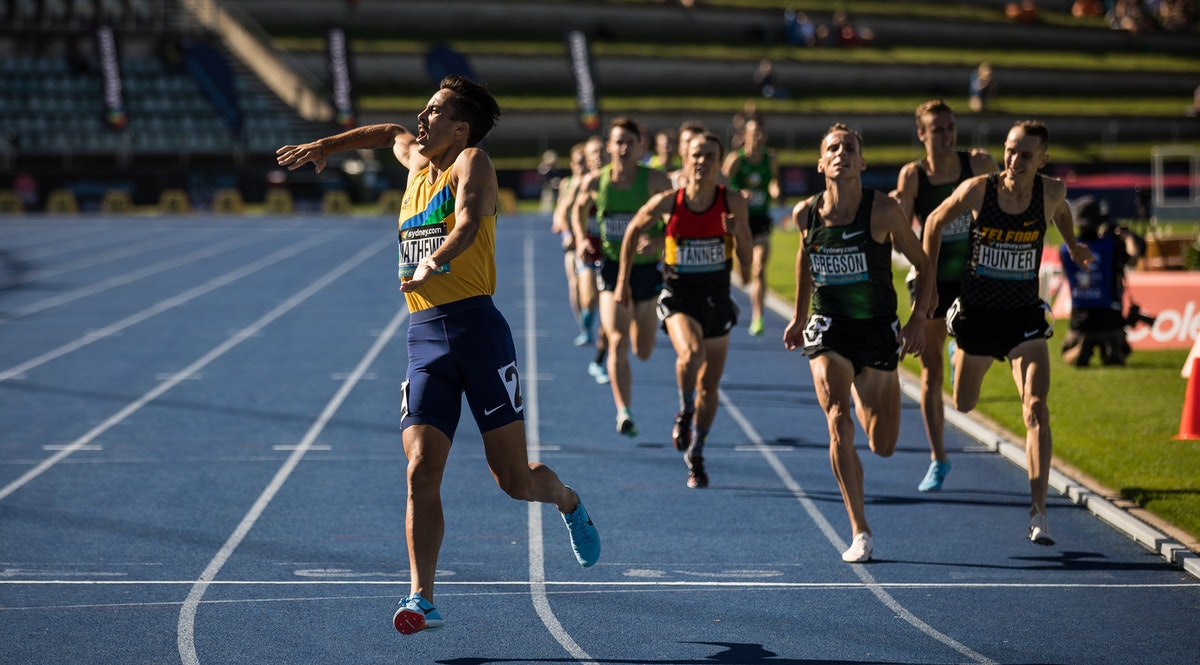 Luke Mathews - Luke Mathews outclassed the field with a 52.1 second final lap to win the 1500m at the 2019 Australian Championships in Sydney. Photo: Casey...
