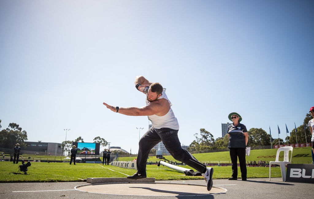 Tom Walsh - New Zealand's Tom Walsh threw a mammoth 21.91m in the shot put at the 2019 Australian Championships in Sydney. Photo: Casey Sims
