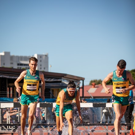 3000m steeplechase - Ben Buckingham, Max Stevens and Matthew Clarke in action in the 3000m steeplechase at the 2019 Oceania Championships in Townsville....