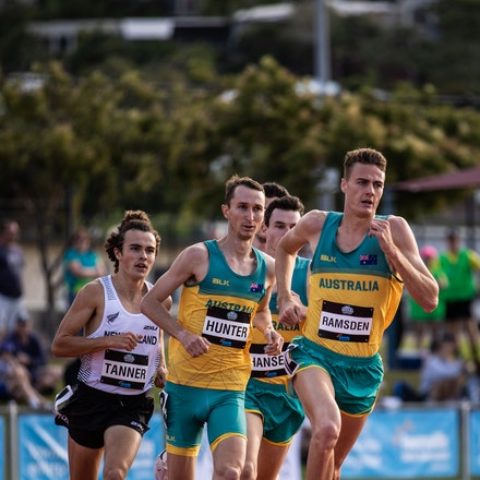 Matthew Ramsden - 1500m, 2019 Oceania Championships, Townsville. Photo by Casey Sims.