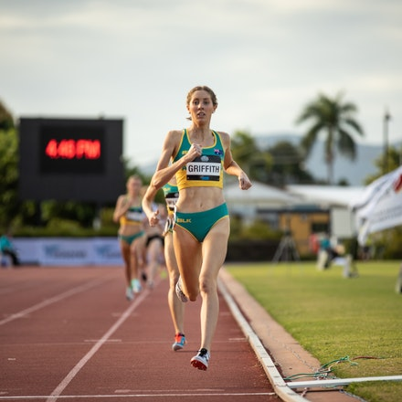 Georgia Griffith - 1500m, 2019 Oceania Championships, Townsville. Photo by Casey Sims.