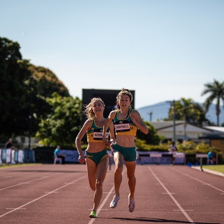 3000m steeplechase finish - Paige Campbell leads Georgia Winkcup to the line in the 3000m steeplechase at the 2019 Oceania Championships in Townsville....